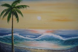 24X36 inch Seascape Oil Painting Suise over the Sea - $24.66