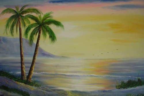 Primary image for 24X36 inch Seascape Oil Painting Sunset in Hawaii Paradise