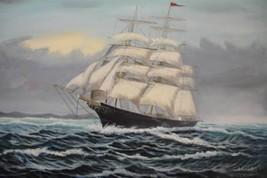 24X36 inch Seascape Oil Painting Pacific Sailing Boat - $24.66