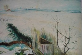 24X36 inch Van Gogh Oil Painting Snowy Landscape with Arles - $23.81