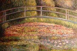 24X36 inch Monet OilPainting Bridge over the sea rose pond 2 - $23.81