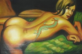 24X36 inch Abstract Oil Painting Nude Lady with Tattoo - $23.81