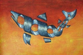 24X36 inch Abstract Hand-painted Oil Painting Fish - $23.81