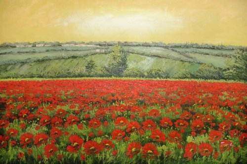 24X36 inch Landscape Hand-painted Painting Red Flower Field