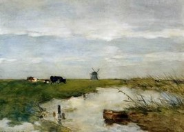 16X20 inches Weissenbruch Jan Dutch polder landscape Sun Canvas Print - $23.70