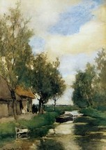 16X20 inches Weissenbruch Jan Farm on polder canal Sun Canvas Print - $23.70