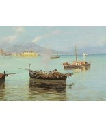 16X20 inches Pratella Attilio Porto Di Napoli A Pair 1892 Canvas Print - $23.70
