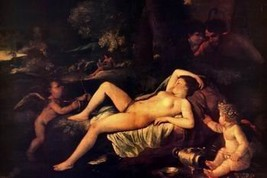 16X20 inches Poussin Nicholas Sleeping Venus and Cupid Canvas Print - $23.70