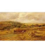 16X20 inches Parker Hey H Harvest Time Lambourne Berks Canvas Print - $23.70