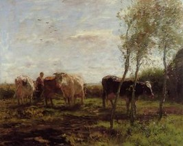 16X20 inches Maris Willem Milking time Sun Unedited Canvas Print Repro - $23.70