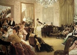 16X20 inches James Tissot Figure Canvas Print Repro The Concert - $23.70
