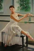16X20 inches Figure Bellerina Canvas Print Ballet Dancer at Exercise - $23.70