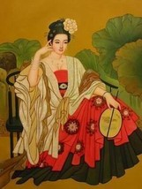 16X20 inches Oriental Figure Canvas Print Repro Chinese Beauty Lady - $23.70