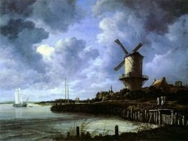 16X20 inches Jacob Ruisdael Canvas Print Repro Windmill with Wijk - $23.70