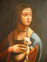 12X16 inch Leonardo Da Vinci Repro Painting Lady with Ermine - $19.50