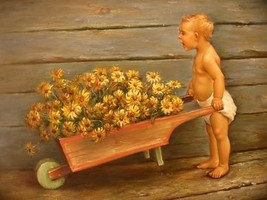 12X16 inch Hand-painted Painting Toddle Pushing Flower Cart - $19.50