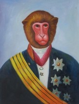 12X16 inch Animal Oil Painting England Dressed Prince Monkey - $19.50