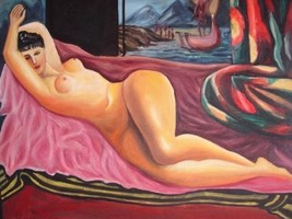 20X24 inch Moise Kisling Painting Nude Lady Laying on Sofa - $17.64