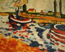 20X24 inch Maurice Vlaminck Oil Painting Tugboats In Spring - $17.64