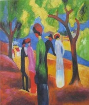 20X24 inch August Macke Repro Painting Woman in Green Jacket - $17.64