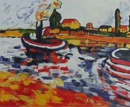 20X24 inch Maurice Vlaminck Rep Painting Tugboats In Spring - $17.64