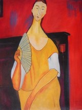 20X24 inch Amedeo Modigliani Oil Painting Woman With A Fan - $17.64