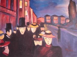 20X24 inch Edvard Munch Painting Johnson Street in Evening - $17.64
