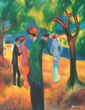 20x24 inch August Mache repro Painting Woman in Green Frock - $17.63