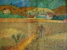 20X24 inch Gogh Painting Enclosed Wheat Field with Peasant - $17.61