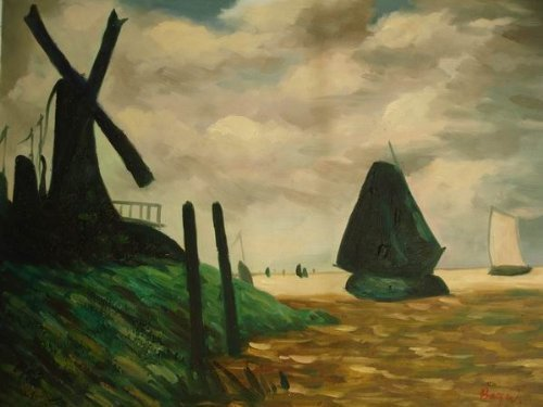 20X24 inch Claude Monet Oil Painting A Windmill Near Zaandam