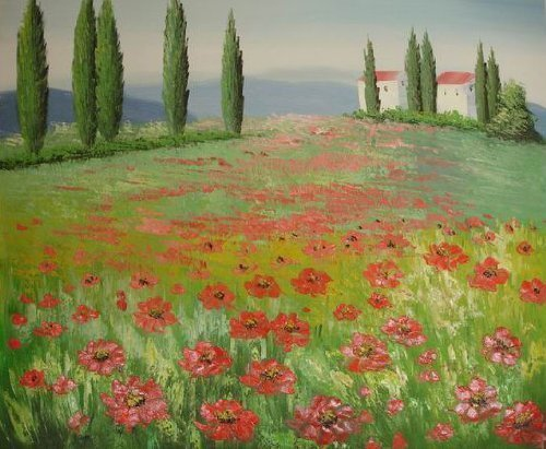 20X24 inch Landscape Hand-painted Painting Red Flower Field