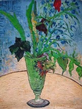 20X24 inch Van Gogh Oil Painting Rep Glass with Wild Flowers - $17.61