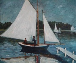 20X24 inch Claude Monet Painting Repro Sailing At Argenteuil - $17.61