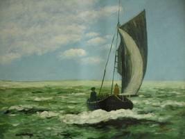 20X24 inch Claude Monet Impressionism Oil Painting Rep Storm - $17.61