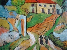 20X24 inch Van Gogh Painting Repro Village Street and Steps - $17.61
