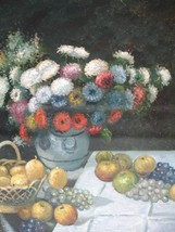 20X24 inch Monet Painting Still Life with Flowers and Fruits - $17.61