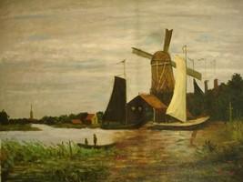 20X24 inch Claude Monet Painting Repro A Windmill at Zaandam - $17.61