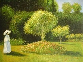 20X24 inch Oil Painting Jeanne Marguerite Lecadre@a garden - $17.61