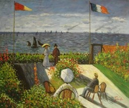 20X24 inch Monet OilPainting Repr Garden at Sainte Adresse 2 - $17.61