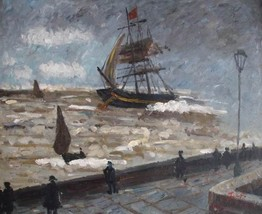 20X24 inch Oil Painting The Jetty of le Havre in bad weather - $17.61
