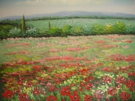 20X24 inch Landscape Hand-painted Painting Red Flower Field - $17.61