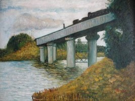 20X24 inch Monet Painting The Railway Bridge At Argenteuil - $17.61