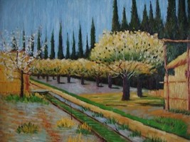 20X24 inch Van Gogh Oil Painting Repro Orchard in Blossom 3 - $17.61