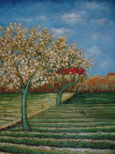 20X24 inch Gogh Painting Rep Orchard in Blossom by Cypresses