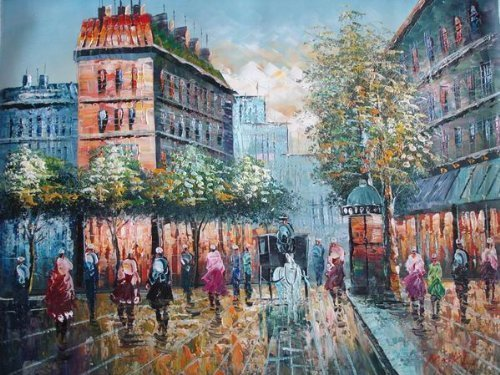 20X24 inch Impressionism Hand-painted Painting Paris Scene