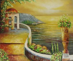 20X24 inch Cityscape Hand-painted Painting Oceanview Garden - $17.61