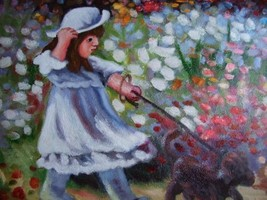 20X24 inch Abstract Oil Painting Littler Girl With a Puppy - $14.69