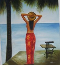 20X24 inch Abstract Oil Painting Undressed Hawaiian Girl - $14.69
