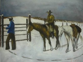20X24 inch Frederic Remington Painting The Fall of Cowboy - $14.69