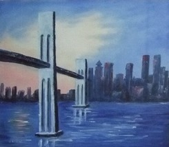 20X24 inch Oil Painting New York Twin Towes 911 Memorabilia - $14.69